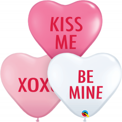 """11"""" Love Expression Assortment Heart Shaped Balloons, Q 97266"""