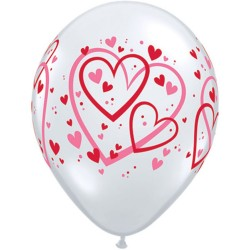 """11"""" Printed Latex Balloons, Big Hearts Asortate White & Red, Qualatex 76928, Pack of 50 pieces"""