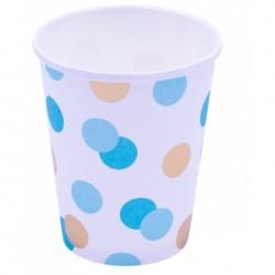 Pahare carton Blue & Gold Dots pentru petrecere - 250 ml, Qualatex 15925, set 8 buc