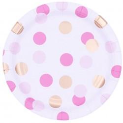 Farfurii carton Pink & Gold Dots pentru petrecere - 23 cm, Qualatex 15922, set 8 buc