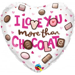 Folie 45 cm inima - I Love You More Than Chocolate, Qualatex 16678, 1 buc