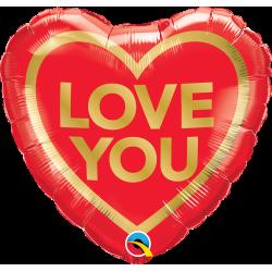 Folie 45 cm inima - Love You Golden Heart, Qualatex 97168, 1 buc