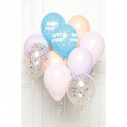 Buchet Baloane latex pastel Happy Birthday + rafie + confetti - 28 cm, Radar 9907425, set 10 buc