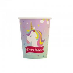 Pahare carton Happy Unicorn pentru petrecere - 250 ml, Radar 64032, set 8 buc