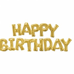 """SuperShape Phrase """"HAPPY BIRTHDAY"""" Gold 2 Foil Balloons, Amscan 36099"""