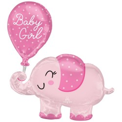 SuperShape Baby Girl Elephant Foil Balloon P60 Packaged 73 x 78 cm