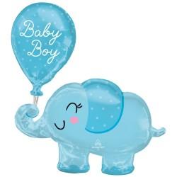 SuperShape Baby Boy Elephant Foil Balloon P60 Packaged 73 x 78 cm