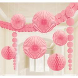 Kit decor de agatat piese mari - Pretty Pink, Amscan 249261, set 9 buc