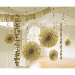 Decoration Kit Gold Paper / Foil 18 Parts 274 cm / 213 cm / 20.3 - 55.8 cm