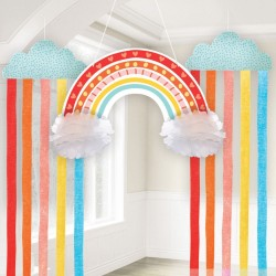 Hanging Decoration Kit Retro Rainbow Paper 3 Parts 41.2 x 170 cm / 64 cm