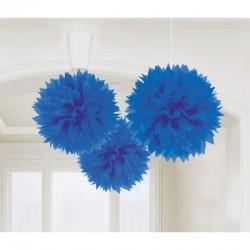 Decoratiuni pompoane albastru regal de agatat - 40.6 cm, Amscan 18055.105.55, set 3 bucati