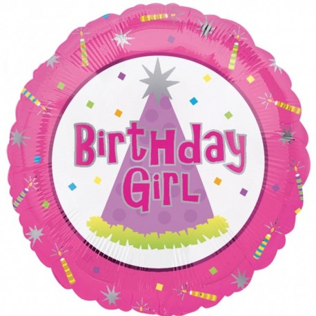 Balon Folie 45 cm Birthday - Girl, Amscan 10077-01