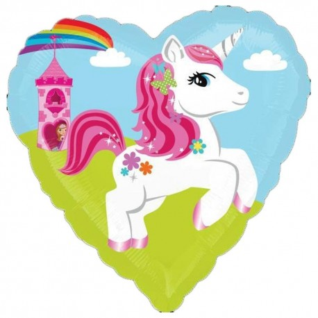 Heart Foil Balloon Unicorn and Castle, 45cm, 29493