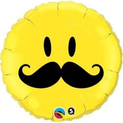Balon Folie Smiley Face Mustache, 45 cm, 60053