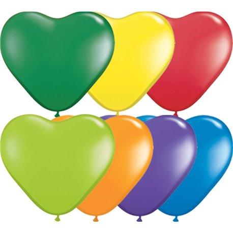 "Baloane latex in forma de inima, Carnival Assortment, 6"", Qualatex 13763, set 100 buc"