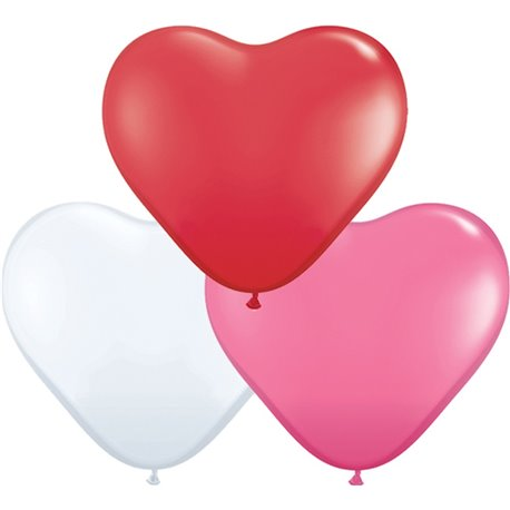 "Baloane latex in forma de inima, Love Assortment, 15"", Qualatex 24022, set 50 buc"