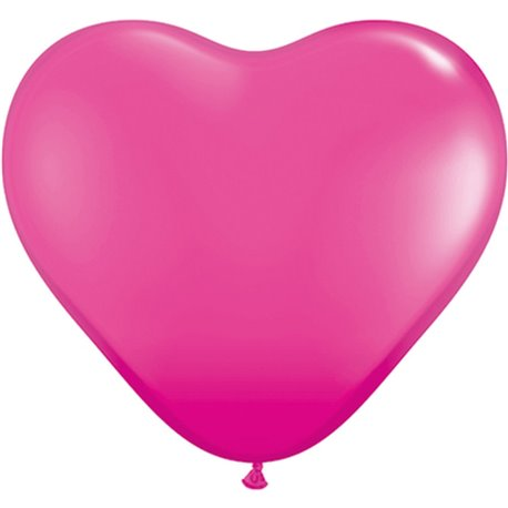 "Baloane latex in forma de inima, Wild Berry, 6"", Qualatex 30213, set 100 buc"