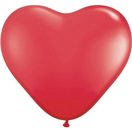 "Baloane latex in forma de inima, Red, 6"", Qualatex 43645, set 100 buc"