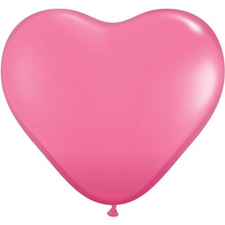 "Baloane latex in forma de inima, Rose, 6"", Qualatex 43646, set 100 buc"