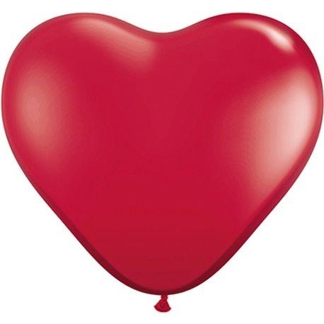 "Baloane latex in forma de inima, Ruby Red, 11"", Qualatex 43732, set 100 buc"