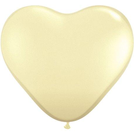 "Baloane latex in forma de inima, Ivory Silk, 6"", Qualatex 48586, set 100 buc"