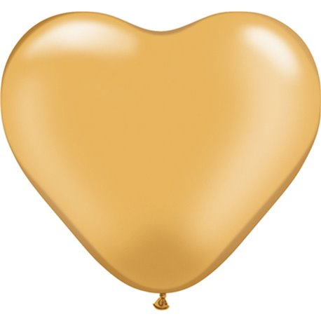 "Baloane latex in forma de inima, Gold, 6"", Qualatex 17726, set 100 buc"