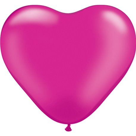 "Baloane latex in forma de inima, Pearl Magenta, 6"", Qualatex 17733, set 100 buc"