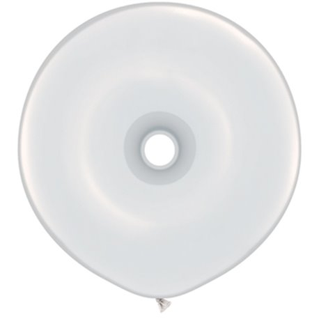 """White GEO Donut Latex Balloons, 16"""" Qualatex 37688, Pack Of 25 pieces"""
