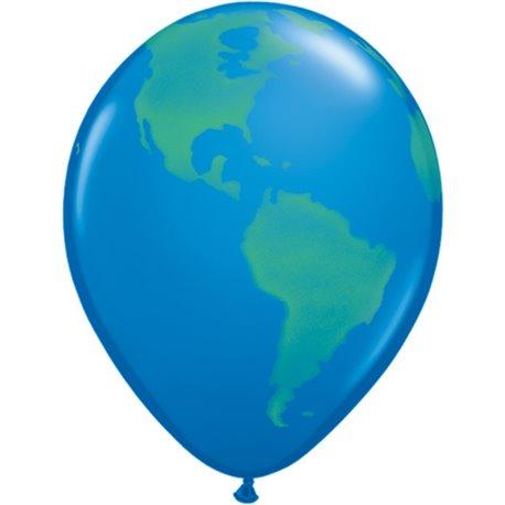 "Baloane latex 11"" inscriptionate, Globe, Dark Blue, Qualatex 39846, set 25 buc"