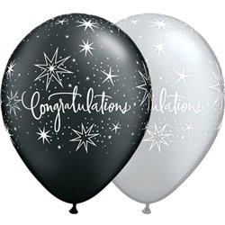 "Baloane latex 11"" inscriptionate, Congratulations Elegant Asortate, Qualatex 36989, set 25 buc"