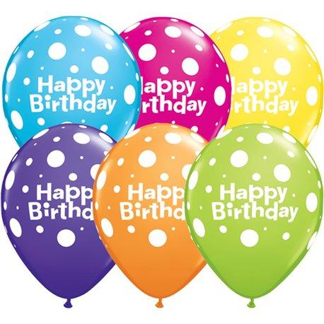 "Baloane latex 11"" inscriptionate Birthday Big Polka Dots Asortate, Qualatex 13846, set 50 buc"