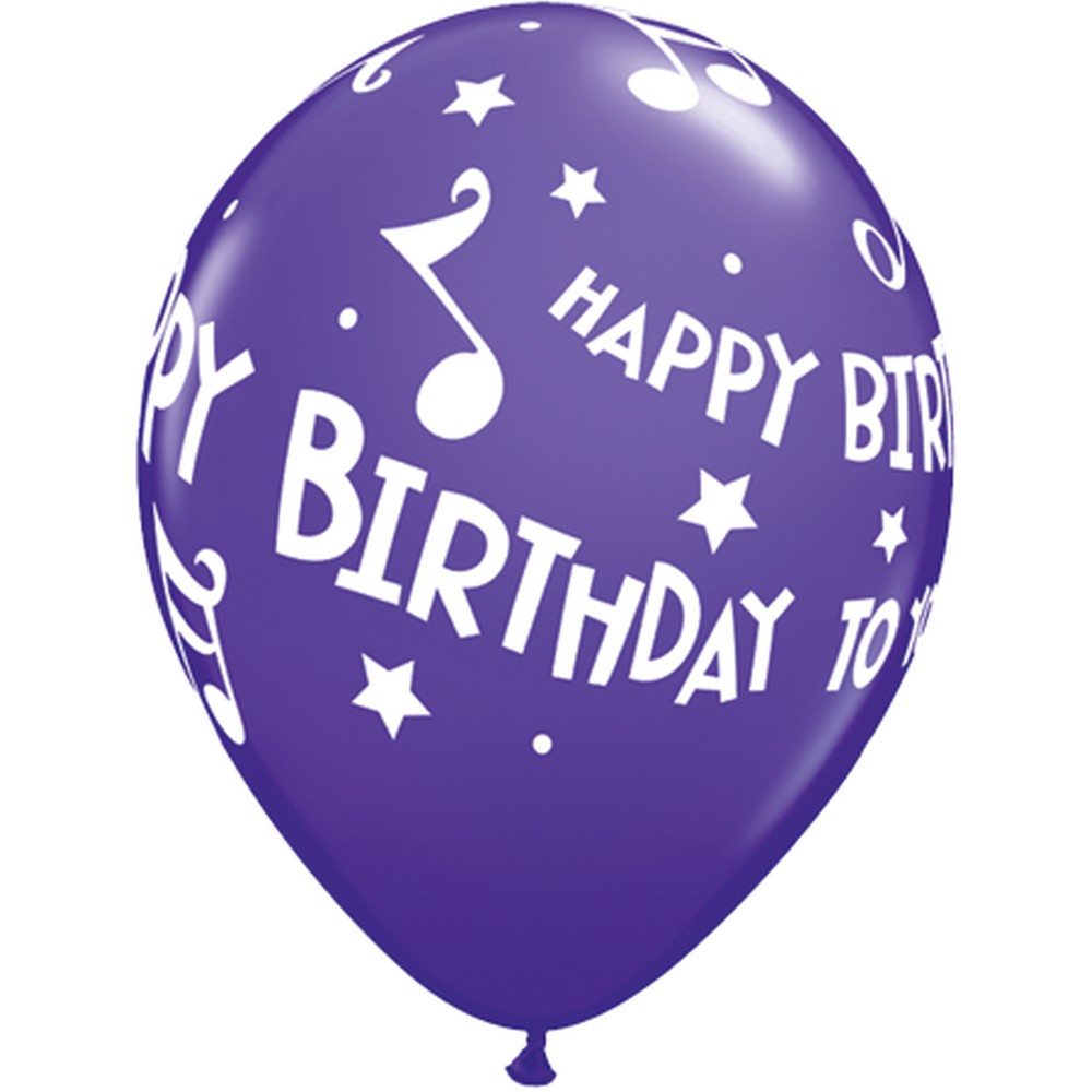 "11"" Printed Latex Balloons, Happy Birthday To You Music"