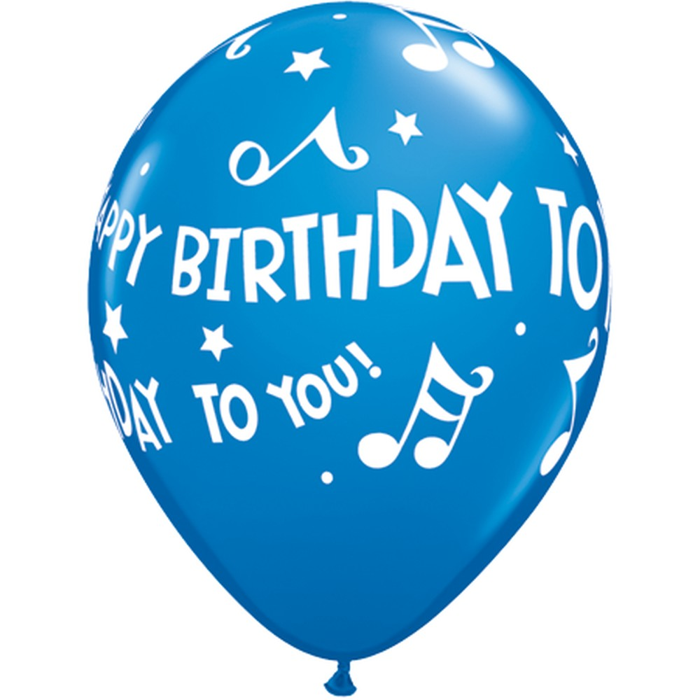 """11"""" Printed Latex Balloons, Happy Birthday To You Music"""
