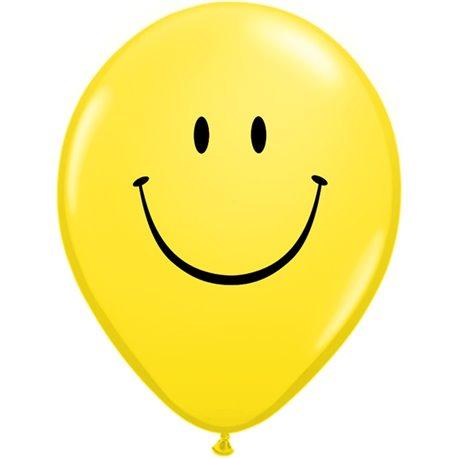 "Baloane latex 5"" inscriptionate Smile Face Yellow, Qualatex 39270, set 100 buc"