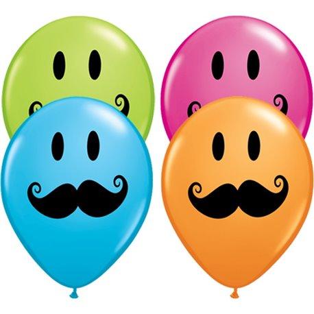 "Baloane latex 11"" inscriptionate Smile Face Mustache Asortate, Qualatex 60044, set 50 buc"