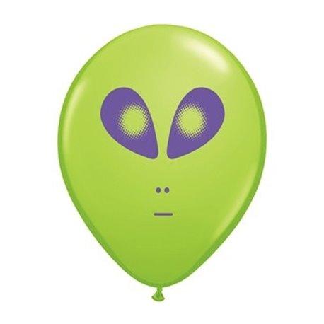 "Baloane latex 5"" inscriptionate Space Alien Lime Green, Qualatex 79711, set 100 buc"