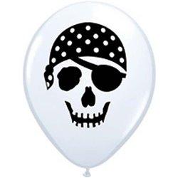 """Baloane latex 5"""" inscriptionate Pirate Skull White, Qualatex 99779, set 100 buc"""