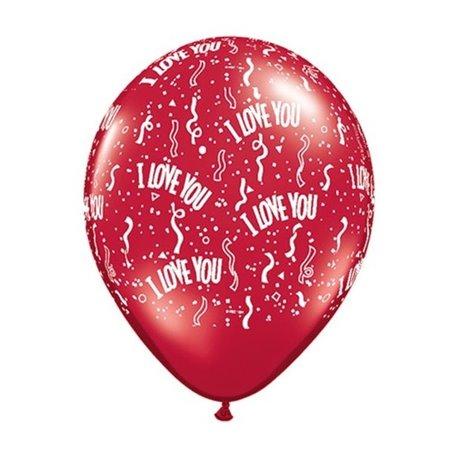 "Baloane latex 5"" inscriptionate I Love You-A-Round Ruby Red, Qualatex 39511, set 100 buc"
