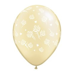 "Baloane latex 11"" inscriptionate Hearts and Roses-A-Round Pearl Ivory, Qualatex 90388, set 100 buc"