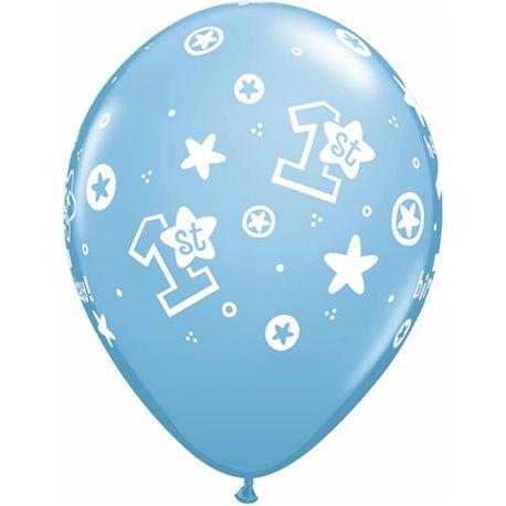 "Baloane latex 11"" inscriptionate 1st Birthday Circle Stars – Boy Pale Blue, Qualatex 41186, set 25 buc"