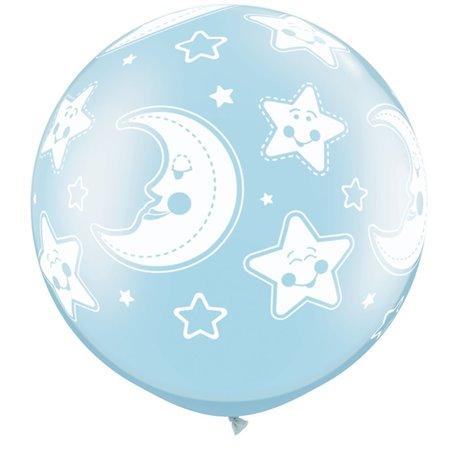 "Baloane latex Jumbo 30"" inscriptionate Baby Moon & Stars-A-Round Pearl Light Blue, Qualatex 32122, set 2 buc"