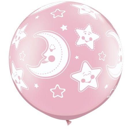 "Baloane latex Jumbo 30"" inscriptionate Baby Moon & Stars-A-Round Pearl Pink, Qualatex 32121, set 2 buc"