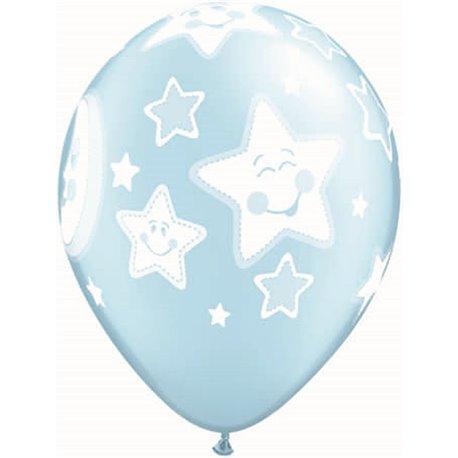 "Baloane latex 11"" inscriptionate Baby Moon & Stars Pearl Light Blue, Qualatex 24941, set 25 buc"