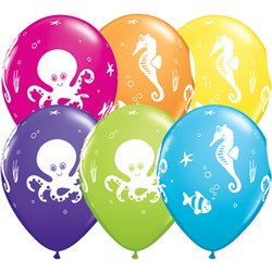 "11"" Printed Latex Balloons, Fun Sea Creatures Asortate, Qualatex 28983, Pack of 25 Pieces"