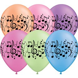 "11"" Printed Latex Balloons, Music Notes Neon Asortate, Qualatex 45265, Pack of 25 Pieces"