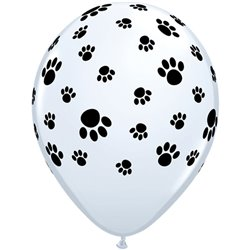 """11"""" Printed Latex Balloons, Paw Prints-A-Round White, Qualatex 61888, Pack of 25 Pieces"""