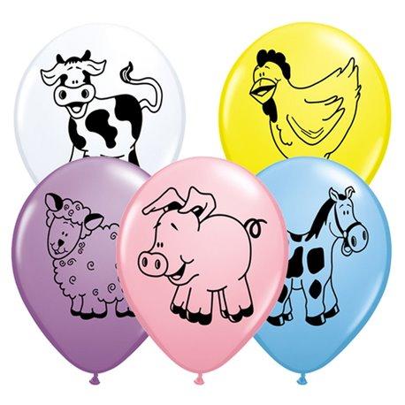 "Baloane latex 11"" inscriptionate Farm Animal Asortate, Qualatex 76477, set 25 buc"