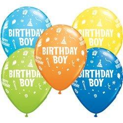 "Baloane latex 11"" inscriptionate Birthday Boy Asortate, Qualatex 20265, set 25 buc"