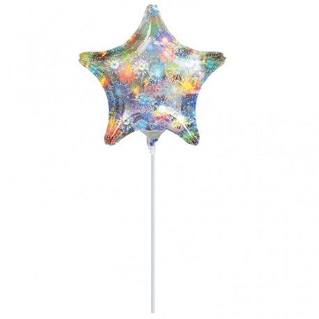 Balon Mini Folie Stea Holografica, 23 cm, 16270