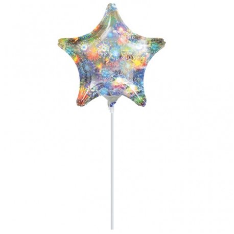 "Holographic Fireworks Star Mini Foil Balloons, 9"", 16270"